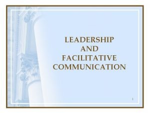LEADERSHIP AND FACILITATIVE COMMUNICATION 1 Leadership has been