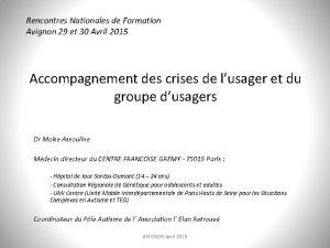 Rencontres Nationales de Formation Avignon 29 et 30