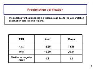Precipitation verification Precipitation verification is still in a