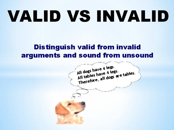 VALID VS INVALID Distinguish valid from invalid arguments