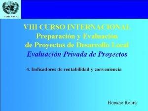 CEPALILPES VIII CURSO INTERNACIONAL Preparacin y Evaluacin de