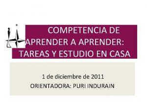 COMPETENCIA DE APRENDER A APRENDER TAREAS Y ESTUDIO