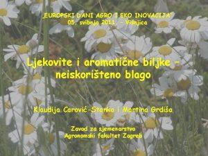 EUROPSKI DANI AGRO I EKO INOVACIJA 05 svibnja