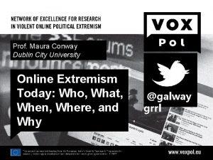 Prof Maura Conway Dublin City University Online Extremism