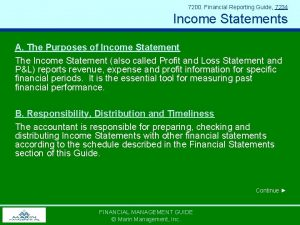 7200 Financial Reporting Guide 7234 Income Statements A