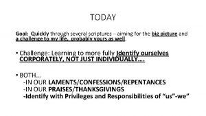 TODAY Goal Quickly through several scriptures aiming for