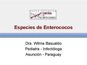 Especies de Enterococos Dra Wilma Basualdo Pediatra Infectloga