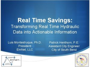 Real Time Savings Transforming Real Time Hydraulic Data
