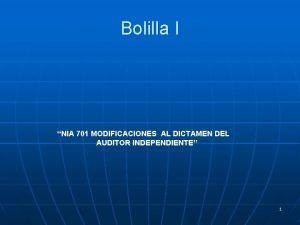 Bolilla I NIA 701 MODIFICACIONES AL DICTAMEN DEL