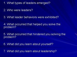 1 What types of leaders emerged 2 Who