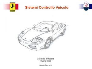 Sistemi Controllo Veicolo Universit di Modena Giugno 2003