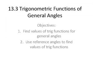 13 3 Trigonometric Functions of General Angles Objectives