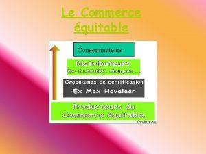 Le Commerce quitable Consommateurs 1 Le Commerce quitable
