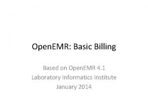 Open EMR Basic Billing Based on Open EMR