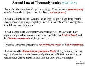 Second Law of Thermodynamics YAC Ch 5 Identifies