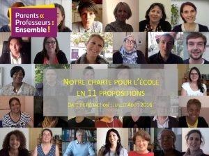 NOTRE CHARTE POUR LCOLE EN 11 PROPOSITIONS DATE