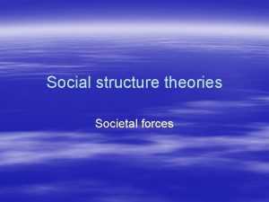 Social structure theories Societal forces Social structure theory