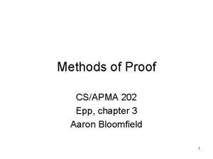 Methods of Proof CSAPMA 202 Epp chapter 3
