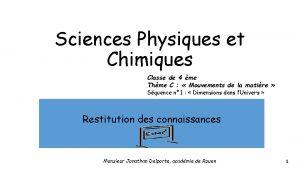 Sciences Physiques et Chimiques Classe de 4 me