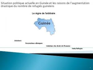 Situation politique actuelle en Guine et les raisons