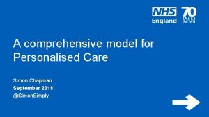 A comprehensive model for Personalised Care Simon Chapman