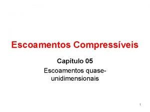 Escoamentos Compressveis Captulo 05 Escoamentos quaseunidimensionais 1 Introduo