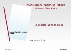 Associazione Antitrust Italiana Un anno di Antitrust La