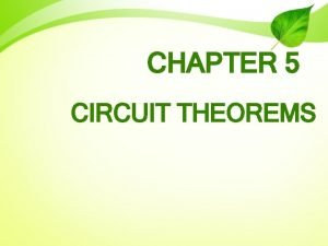CHAPTER 5 CIRCUIT THEOREMS CIRCUIT THEOREMS Source Transformation