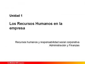 Unidad 1 Los Recursos Humanos en la empresa