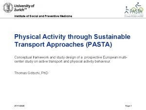 Institute of Social and Preventive Medicine Physical Activity