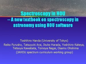 Spectroscopy in HOU A new textbook on spectroscopy