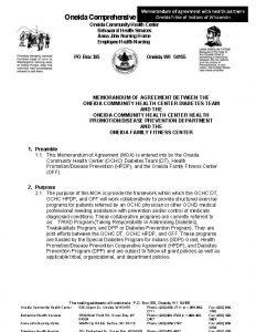 Memorandum of agreement with health partners Tribe Oneida