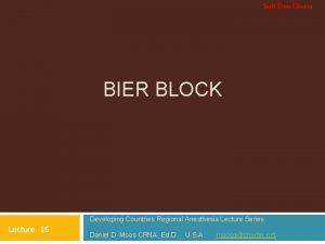 Soli Deo Gloria BIER BLOCK Developing Countries Regional