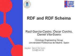 RDF and RDF Schema Ral GarcaCastro scar Corcho