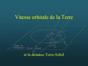 Vitesse orbitale de la Terre et la distance