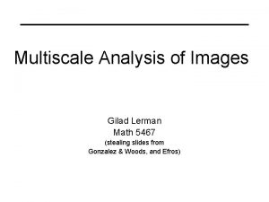 Multiscale Analysis of Images Gilad Lerman Math 5467