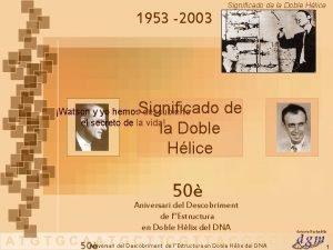 Significado de la Doble Hlice 1953 2003 Significado