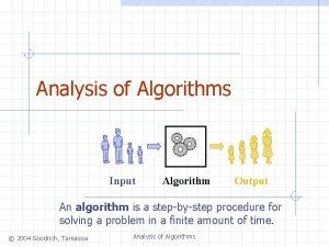 Analysis of Algorithms Input Algorithm Output An algorithm