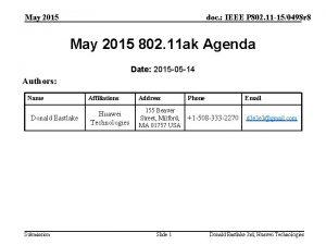 May 2015 doc IEEE P 802 11 150498