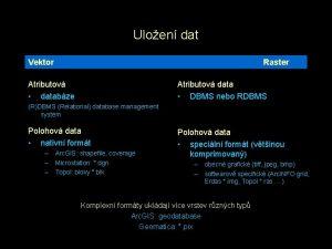 Uloen dat Vektor Raster Atributov databze Atributov data
