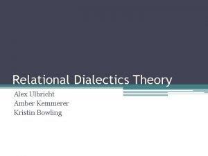 Relational Dialectics Theory Alex Ulbricht Amber Kemmerer Kristin