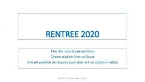 RENTREE 2020 Etat des lieux et perspectives Circonscription