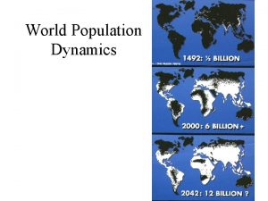 World Population Dynamics The Population Explosion The Population