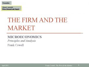 Prerequisites Almost essential Firm Demand Supply THE FIRM