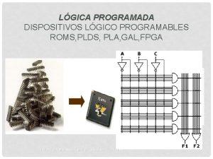 LGICA PROGRAMADA DISPOSITIVOS LGICO PROGRAMABLES ROMS PLDS PLA