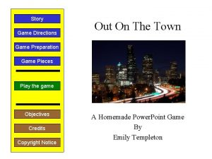 Story Game Directions Out On The Town Game