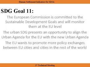 Human Settlement Indicators for SDGs SDG Goal 11