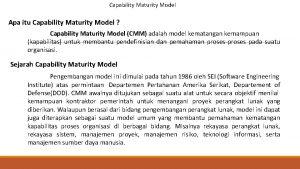 Capability Maturity Model Apa itu Capability Maturity Model