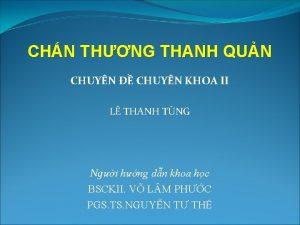 CHN THNG THANH QUN CHUYN CHUYN KHOA II