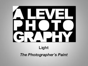 Light The Photographers Paint Light is that part